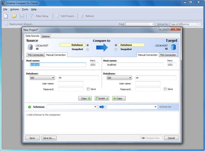 About Schema Compare for Oracle: Schema Compare for Oracle automatically compares and synchronizes the schemas of Oracle databases.