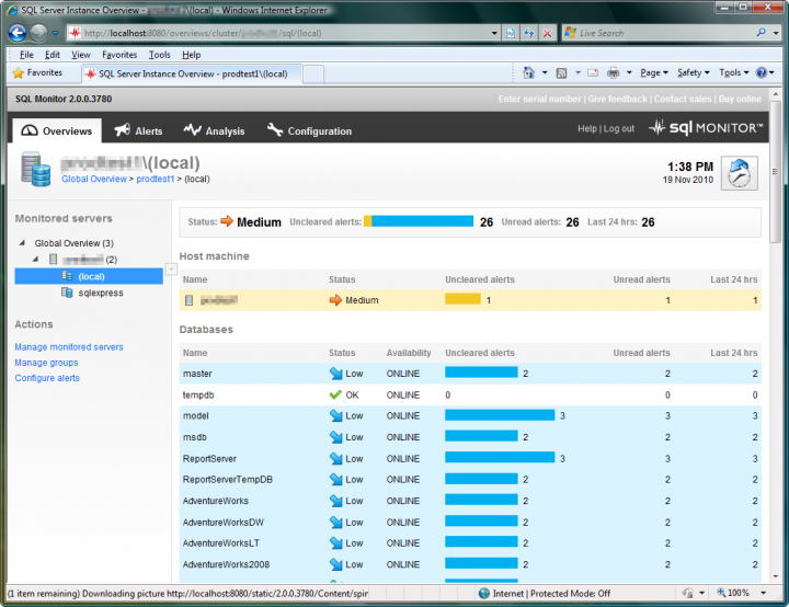 About SQL Monitor: Monitors MS SQL Server, with alerts and diagnostic data.