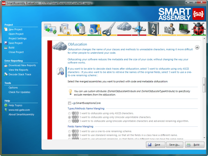 About SmartAssembly: .NET obfuscator and automated error reporting.