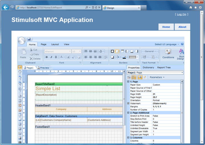 About Stimulsoft Reports.Web for MVC: Reporting tool for ASP.NET MVC.