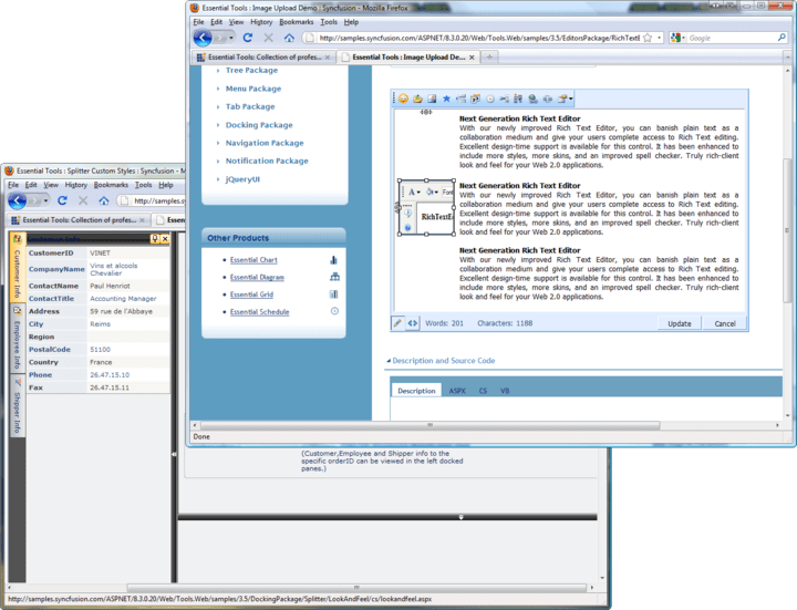 About Syncfusion Essential Tools for ASP.NET: AJAX enabled menus, rich text editor, toolbars, treeview and more.