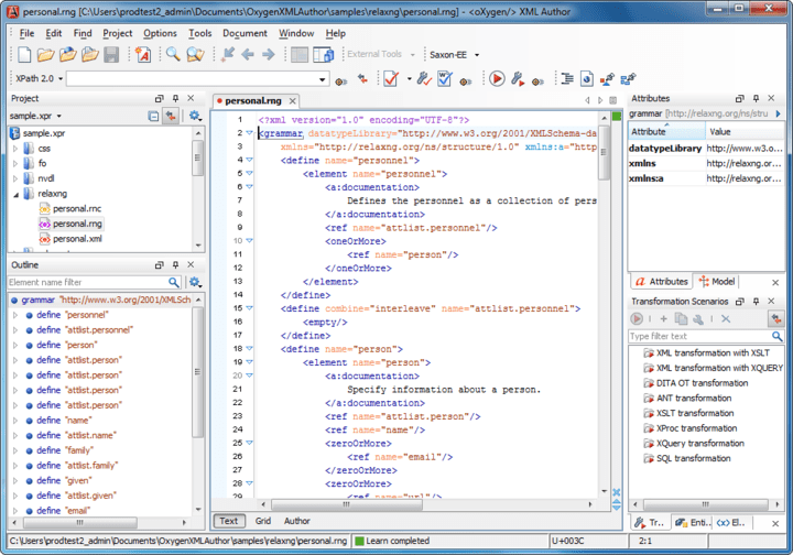 About oXygen XML Author Professional: Easy to use interface specially suited for XML content authors.