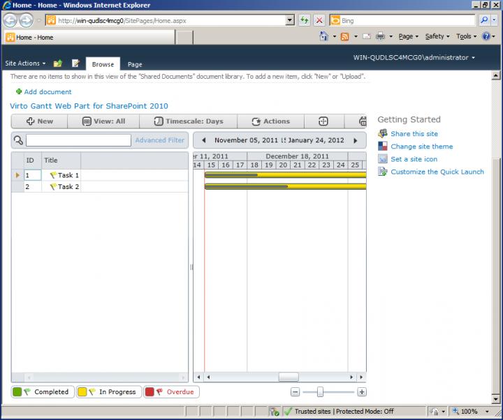 About Virto Gantt View Web Part: Visualization of SharePoint tasks.
