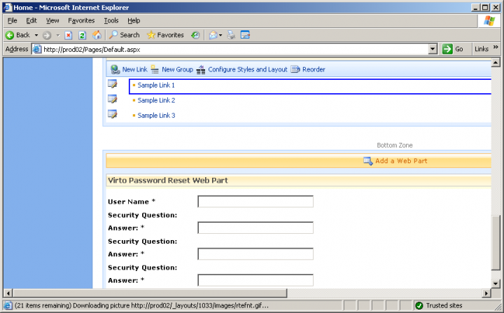 About Virto Password Reset and Recovery Web Part: Reset your SharePoint passwords without administrator help.