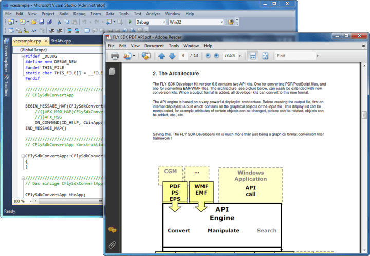 About Fax/Arch. TIFF SDK: Create, convert, import and export PDF, PostScript and Metafiles with just two calls.