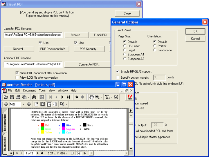 About Pcl2pdf for Unix (including Linux, OpenVMS) Server: Convert LaserJet PCL print files to PDF (Portable Document Format).