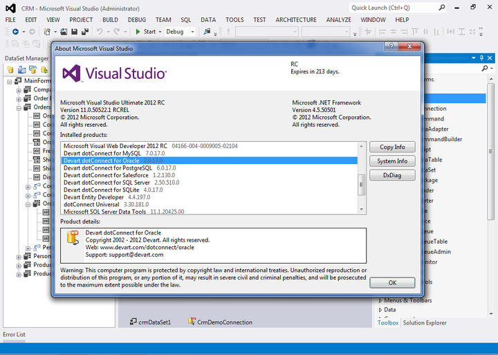 dotConnect completely supports Visual Studio 2012.