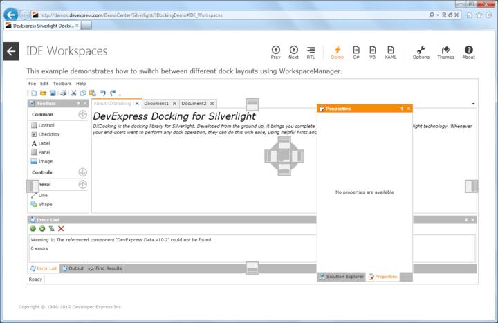 Visual Studio inspired dockable user interface.