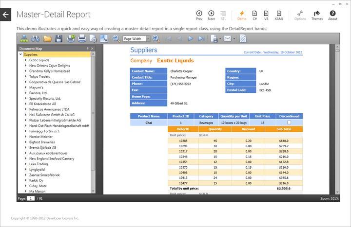 Enterprise-ready report with built-in designer.