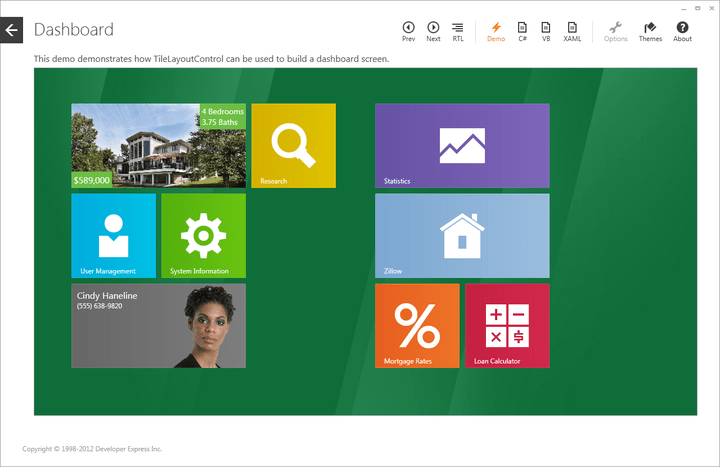 Windows 8® inspired tile and form layout tools.