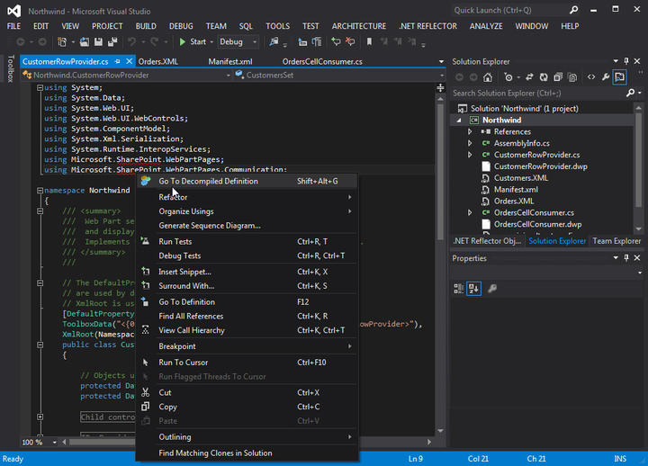 .NET Reflector integrates fully with Visual Studio 2012.