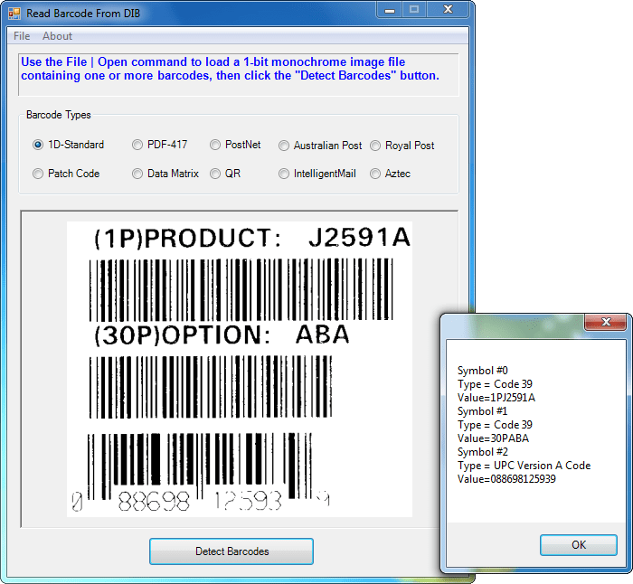 Read and Write 1D and 2D Barcodes: Barcode Xpress accurately reads common industry 1D and 2D barcodes and also writes most 1D barcodes and many 2D barcodes.