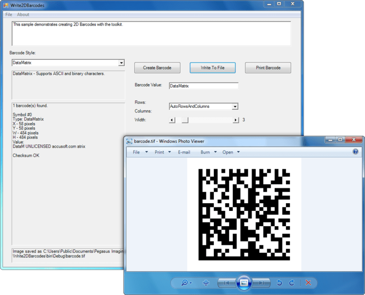 Write 2D Barcodes: Easily create 2D barcodes, 1. Set the Barcode Value and Type you want to create. 2. Call the Create or CreateBitmap method from the WriterBase class to create a barcode and return the image.