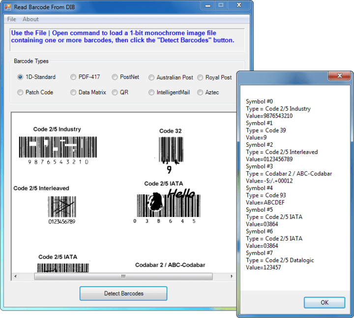 Recognize different barcode types: 2D Barcodes - Aztec, DataMatrix, PDF417,QR Code 1D Barcodes - Add-2, Add-5, Airline 2 of 5, Australia Post 4-State Code, BCD Matrix, Codabar, Code 128 (A,B,C), Code 2 of 5, Code 32, Code 39, Code 39 Extended,Code 93, Code 93 Extended, DataLogic 2 of 5, EAN 128 (GS1, UCC), EAN-13, EAN-8, Industrial 2 of 5, Intelligent Mail (OneCode), Interleaved 2 of 5, Invert 2 of 5, ITF-14 / SCC-14, Matrix 2 of 5, Patch Codes, PostNet, Royal Mail (RM4SCC), UCC 128, UPC-A, UPC-E