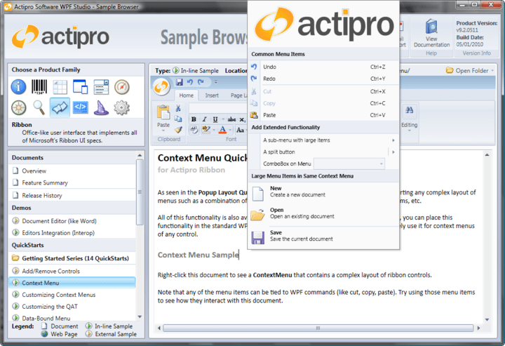 Actipro Ribbon for WPF Popup Galleries: Popup galleries support item categorization, filtering, selection, zooming-in on mouse over, and more.
