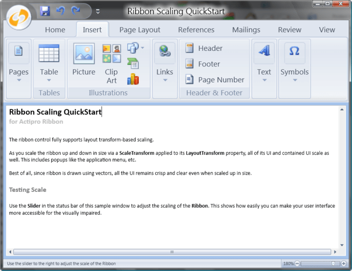 VS 2008 Designer Support : Use task panes to quickly create and configure your ribbon in the Visual Studio designer.