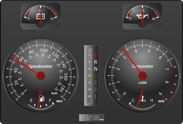 Automotive Gauges: Use Actipro gauges to build great-looking automotive dashes.