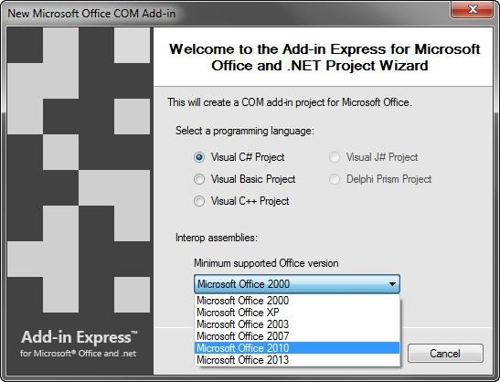 Version Independent: You only need to select the minimum supported Office version – the corresponding interop assemblies will be used for your project .