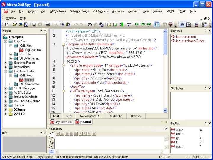 XMLSpy®: Altova® MissionKit™ for Enterprise Software Architects includes XMLSpy® Enterprise Edition an XML editor for modeling, editing, transforming, & debugging XML technologies.