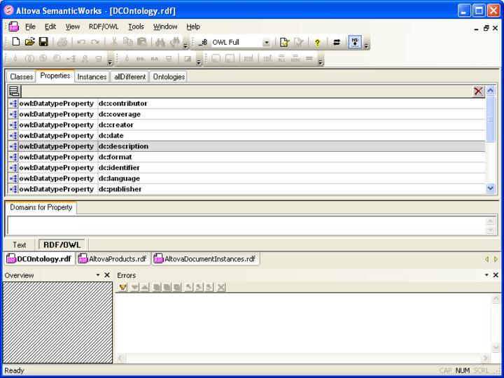 SemanticWorks™: Altova® MissionKit™ for Enterprise Software Architects includes SemanticWorks™ a visual Semantic Web design tool for RDF and OWL.