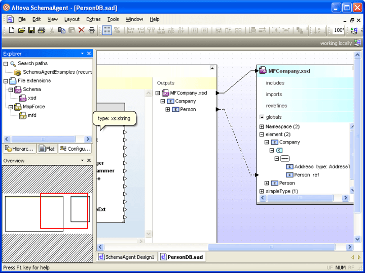 SchemaAgent™: Altova® MissionKit™ for Enterprise Software Architects includes SchemaAgent™ a graphical XML Schema modeling and management tool.