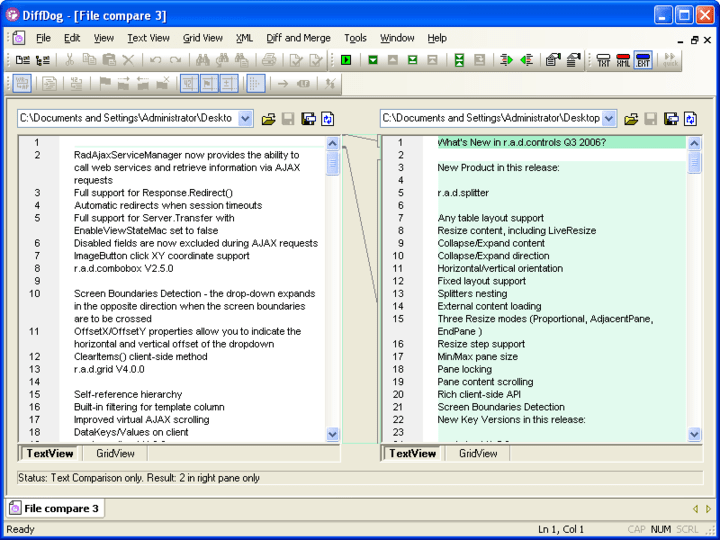 DiffDog: XML-aware diff/merge tool for file and directory differencing