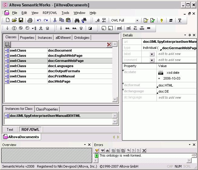 Screenshot of Altova SemanticWorks 2012 - Installed Users