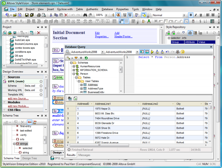 Database Support: StyleVision supports the ability to create stylesheets based on XML Schemas, XML instance files, XBRL taxonomies, DTDs, and databases. This unique ability allows you to generate database reports in HTML, RTF, PDF, and Word 2007 – all based on a single des