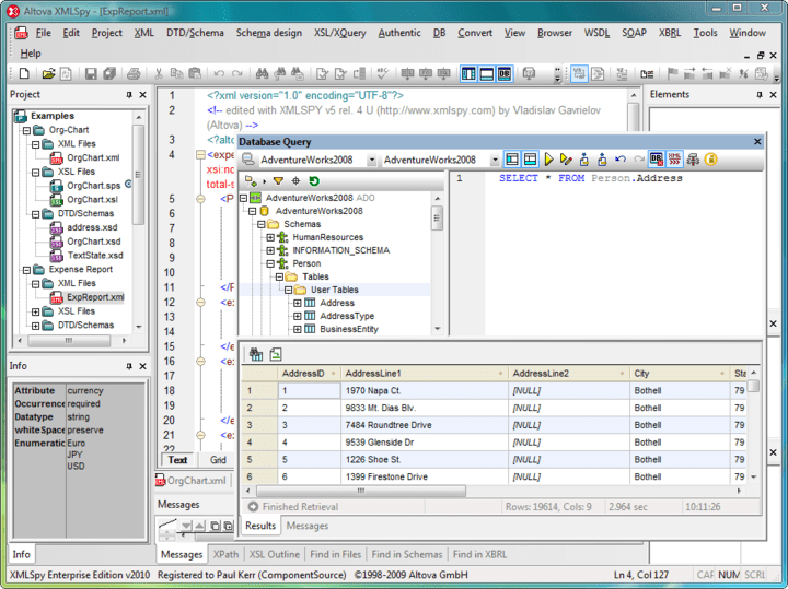 XML Editing Tools: Altova XMLSpy includes XML editing tools that simplify the creation and editing of XML documents.
