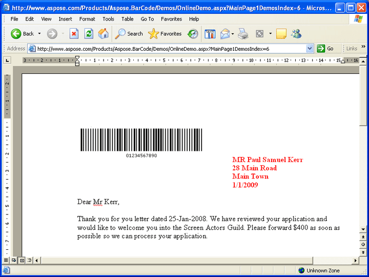 Insert to Word: With the help of Aspose.Word, Aspose.BarCode can insert BarCodes into a MS Word file (.doc) easily.