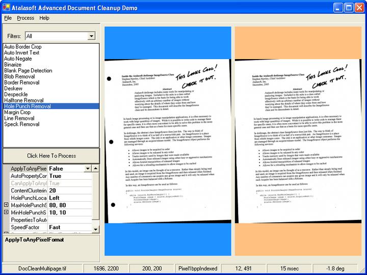 펀치 구멍 제거: Document cleanup은 문서의 펀치 구멍을 제거합니다.