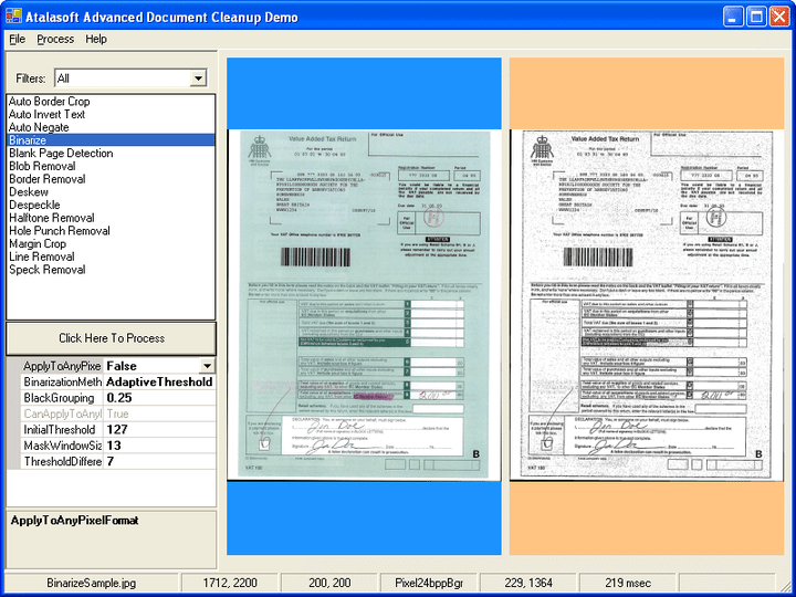 2진화: Document cleanup은 그레이스케일이나 컬러 이미지를 흑색과 백색으로 전환합니다.