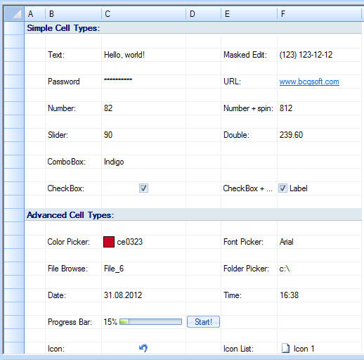 Grid Cell Types: The grid control supports the following cell types: Text, Masked text, Numeric, Icon, Numeric with the spin buttons, Combo box, Date/time picker, Color picker, URL, Check box, Custom cell times.