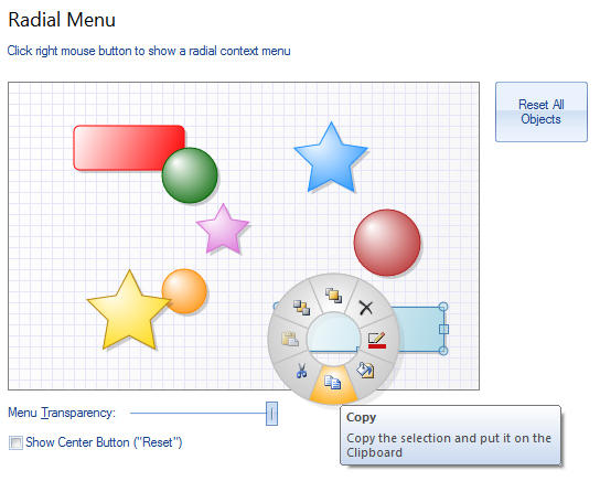 Radial Menu: Radial popup menu is a menu with radial shape where items are located around the center. Usually, the radial menu is intended for selected object handling. For the better look and usability, the recommended number of menu items is 8. Optionally, you can add an item to the center.