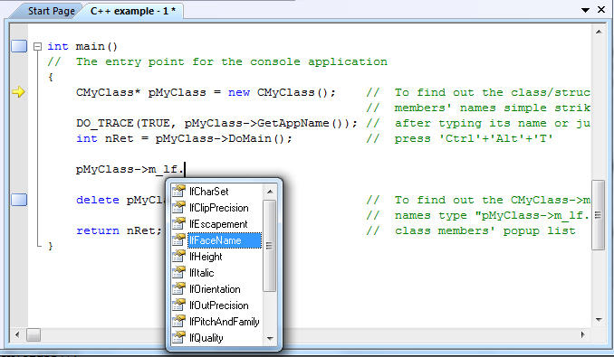 IntelliSense® support: We provide an advanced support for IntelliSense®. Using this support you can create editors similar to one supplied with Microsoft® Visual Studio.