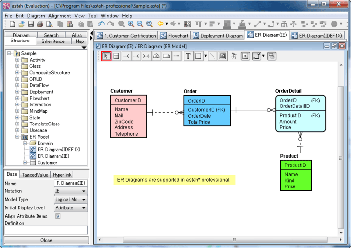 ER Diagram (Entity- Relationship Diagram): ER Diagrams can be drawn in two notations, IDEF1X or IE. Categories for Entity, Resource, Event and Summary can be set. Show Domains in hierarchically and you can drag and drop Domains into Entities directly to add them!