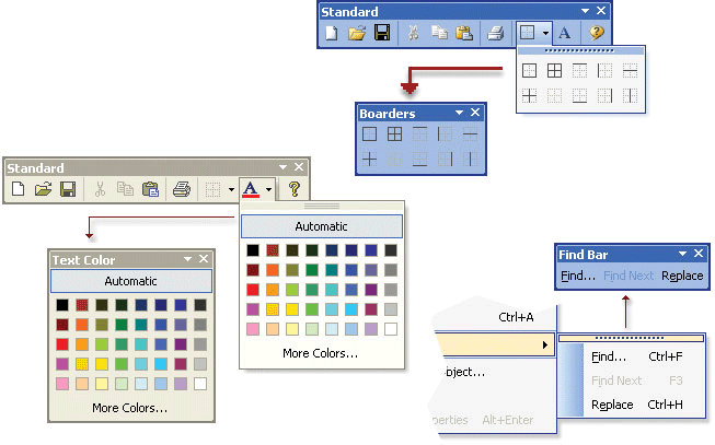 Tear-Off Menus and Toolbars: Xtreme Command Bars can give your application a professional look with tear-off menus and toolbars that allow users to easily tear menus and toolbars off and float them in separate windows, providing a workspace that is easy to manipulate to anyone's preferences.