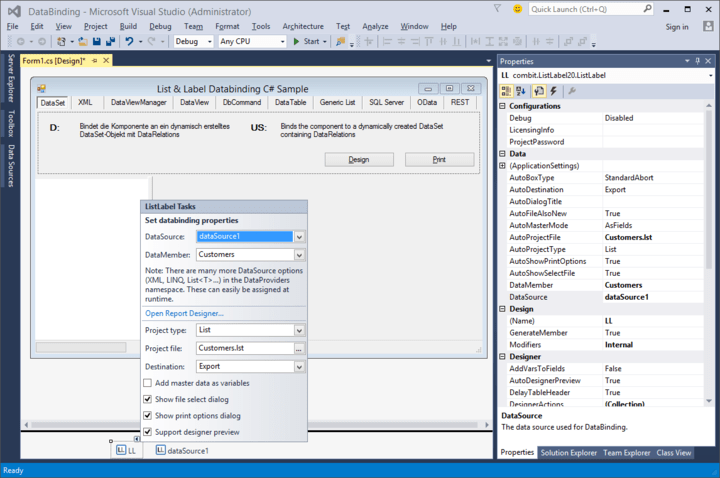 List & Label fully supports Visual Studio 2015