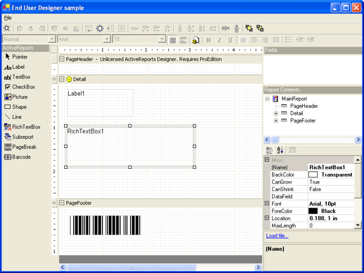 Enhanced End-User Report Designer Control: The Professional Edition of ActiveReports for .NET contains a redesigned End-User Report Designer. The addition of a CommandBar library and Toolbox object makes the creation and customization of the End-User Designer a quick and easy task.