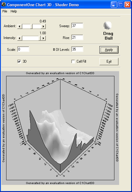 Shading: Shade your Charts. Set the ambient and Intensity levels and use the drag ball to set the shading level