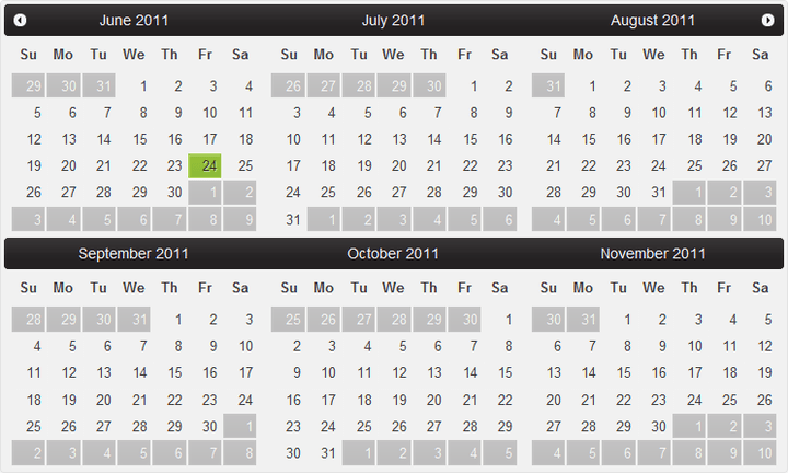 Calendar for ASP.NET Web Forms: Add a calendar to your website with ComponentOne Calendar for ASP.NET Web Forms with a single month or a table of months.