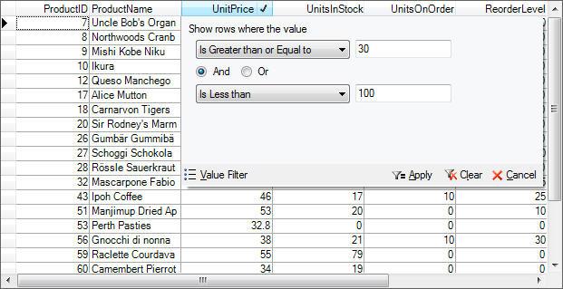 Conditional Filtering: Conditional Filtering: True DBGrid.