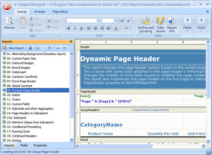 C1ReportDesigner: Microsoft Access-like UI of the C1ReportDesigner.