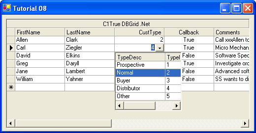 Attach a multicolumn True DBDropDown control to a grid cell: The C1TrueDBDropDown control can be bound to a data source, which makes it ideal for data entry involving a secondary lookup table.