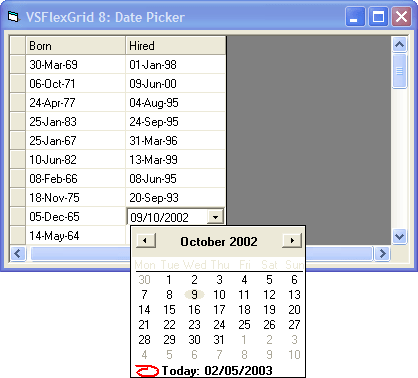 Date Time: Use DateTimePicker control to edit date entries. Use the VSFlexGrid control's CellLeft, CellTop, CellWidth, and CellHeight properties to position the DateTimePicker control over the cell being edited, then monitors the control to retrieve the user's selection and to finish the editing process.