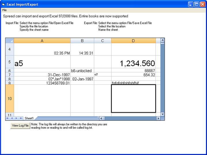 Importing and Exporting Files: Spread can import and export Excel 97 and 2000 files. You can export data to many different files with Spread: Microsoft Excel 97/2000 ,XML ,HTML ,.SS3 (Spread proprietary format) ,tab-delimited , comma-delimited , other custom-delimited files