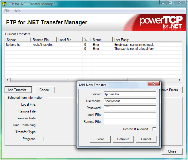 FTP Application: Create a fully working FTP application. Store and retrieve files, send commands, display file transfer progress, and retrieve and display listings.