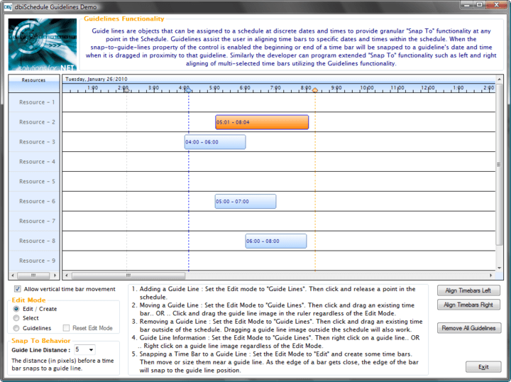 Guide Lines: When the snap-to-guide-lines property of the control is enabled the beginning or end of a time bar will be snapped to a guideline's date and time when it is dragged in the proximity to that guidelines.