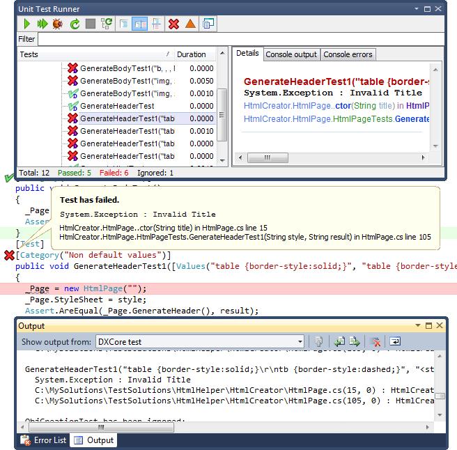 Test execution details