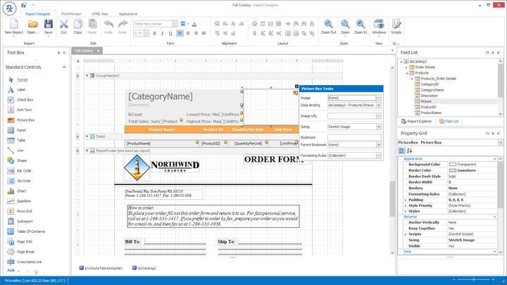 WinForms Report Designer